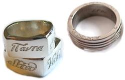 Gravyr på sidan av ringen